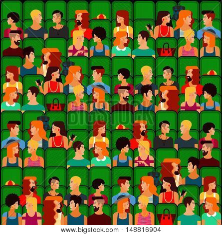 Flat People Sitting in the Cinema and Watching a Movie. Vector Illustration. Cute vector character people. Seamless Pattern.