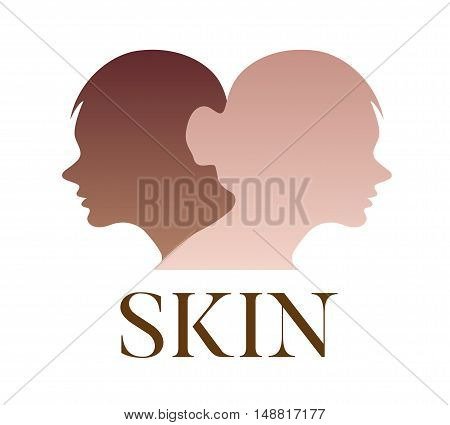 skin vector logo, dark skin turn to bright , vector on white background