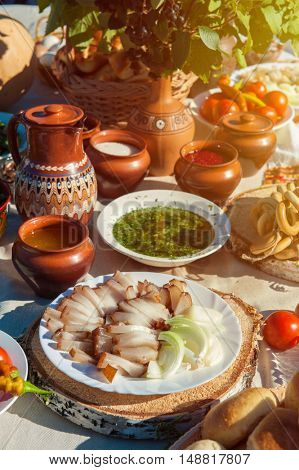 Russian table with traditional food