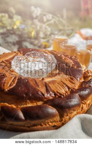 Russian traditional round bread with salt