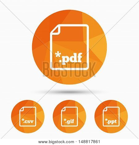 Download document icons. File extensions symbols. PDF, GIF, CSV and PPT presentation signs. Triangular low poly buttons with shadow. Vector