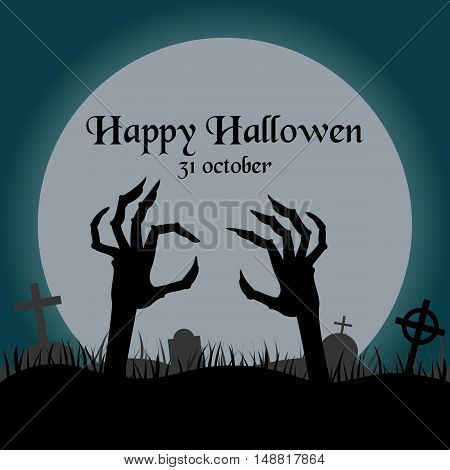 Spooky silhouette of hand reaching from the grave for halloween invitation card or halloween party poster. Vector illustration.