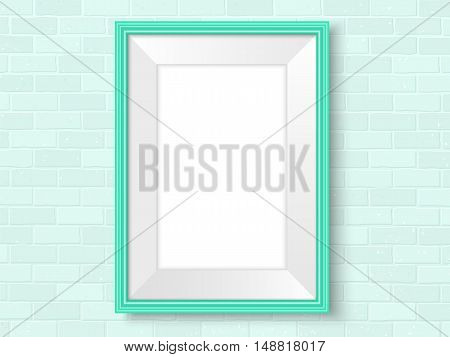 Frame On Brick Wall Green Interior Template Vector