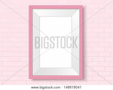 Frame on brick wall. Pink photoframe mock up. Empty frame for modern interior design. Isolated vector illustration. Realistic vector template for posters paintings or photos.