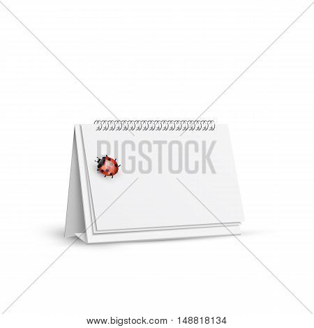 blank spiral table calendar with ladybug on white background isolated vector illustration