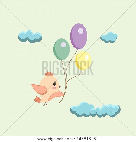 Birthday card An image of a bird with balloons