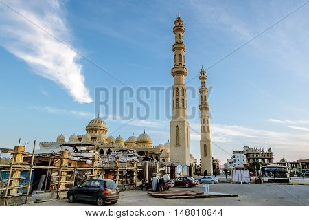 Hurghada Egypt.15 april 2014.The mosque in the town of Hurghada in Egypt at evening illumination