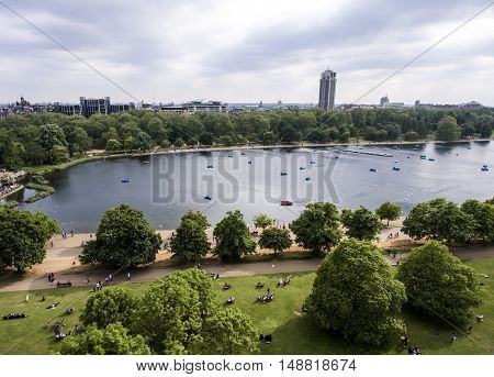 London big hyde park in the city for chilling aerial