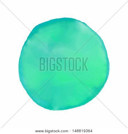 Colorful watercolor blot. Hand drawn cyan blot on white background for your design, postcard, banner, logo.