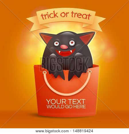 Halloween bag with funny bat inside. Trick or treat concept. Vector illustration