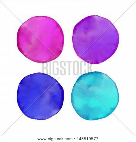 Set of colorful watercolor blots. Hand drawn blots on white background for your design, postcard, banner, logo.