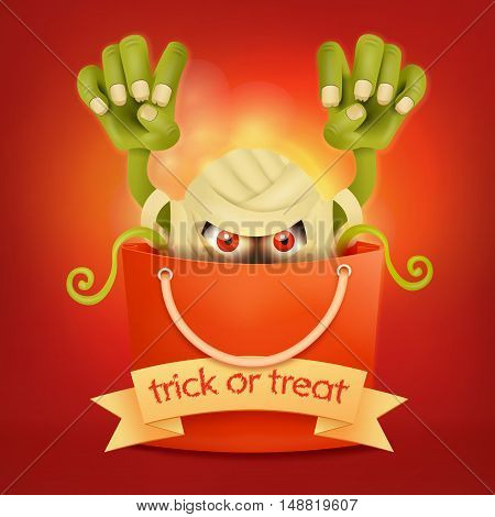 Halloween bag with scary monster inside.Trick or treat concept. Vector illustration