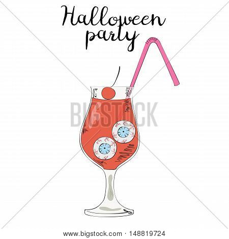 Halloween glass with blood and with eyeballs on white background