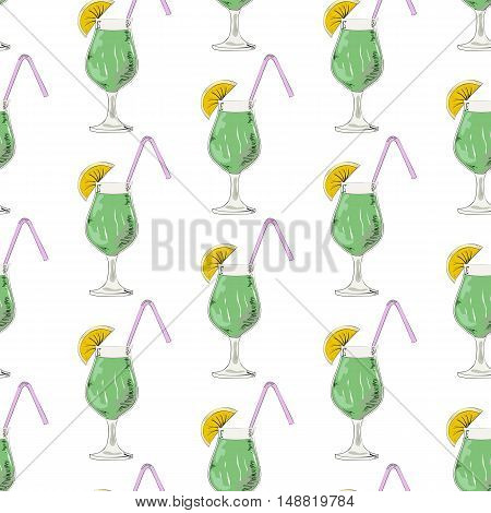 Seamless pattern with alcohol cocktail on the white background.