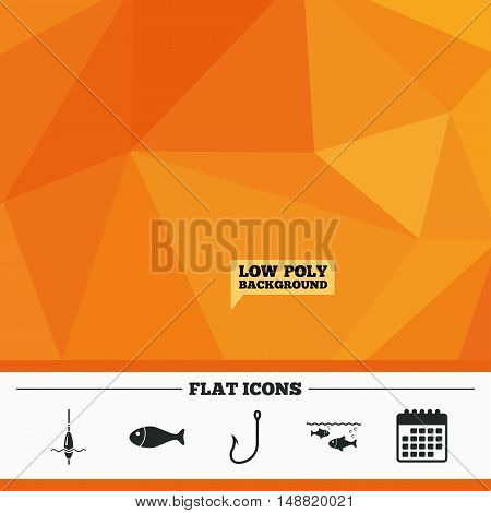 Triangular low poly orange background. Fishing icons. Fish with fishermen hook sign. Float bobber symbol. Calendar flat icon. Vector