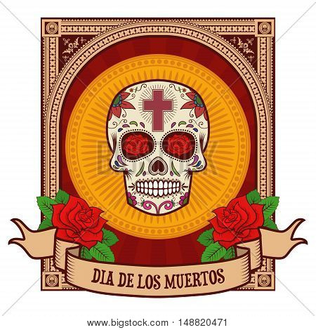 day of the dead. Sugar skull in vintage frame. Vector illustration.