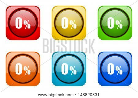 0 percent colorful web icons