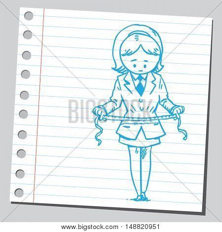 Businesswoman measuring her waist