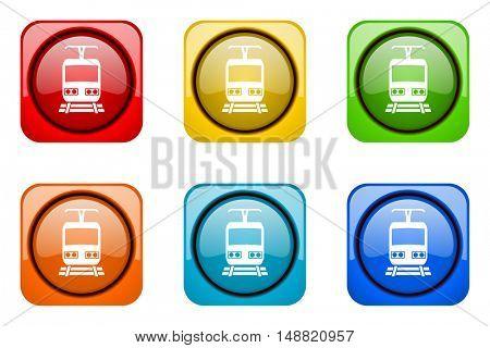 train colorful web icons