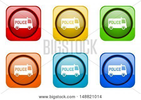 police colorful web icons