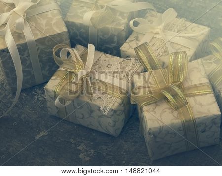 Decorative gift boxes in the vintage arrangement