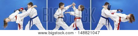 Children are training karate blows and blocks collage