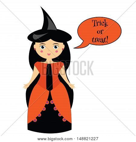 Cartoon cute witches characters in dresses and hats. Girl in carnival halloween costume with speech bubble saying trick or treat. Vector illustration for games greeting cards invitations and etc