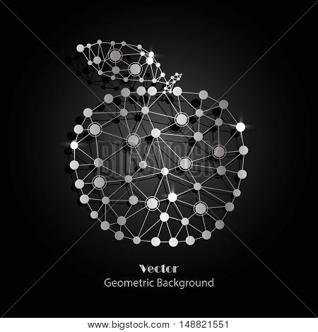 Silver vector apple made of connected lines and dots on black background.