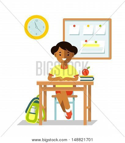 Student girl sit at desk in classroom isolated on white background