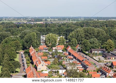 Aerial view family houses in residential area of Emmeloord The Netherlands