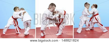 Collage of children trained judo sparring in judogi