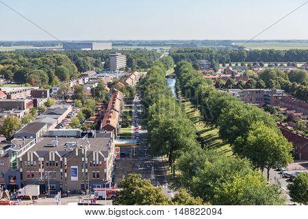 EMMELOORD THE NETHERLANDS - SEP 10: Aerial view downtown district on September 10 2016 of Emmeloord capitial city of Noordoostpolder the Netherlands