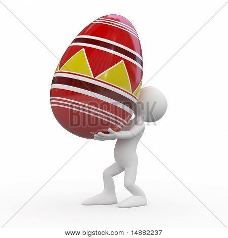 Man carrying a huge Easter egg