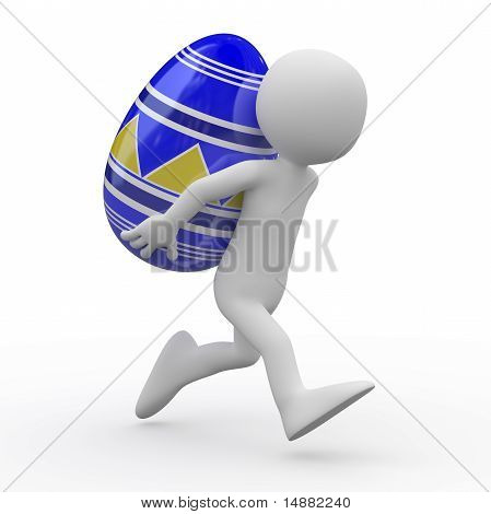 Man running with a huge Easter egg in the back