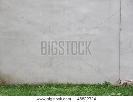 gray wall in the yard with green grass line