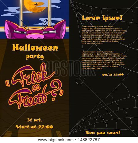 Template of a Halloween flyer with a tricky cat front and back sides. Vertical invitation to a party. Vector illustration with separated layers.