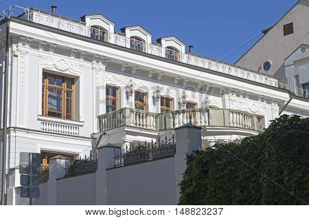 Balcony on the old mansion in the center of Moscow. Pozharsky lane 6/1. Sunny August morning.