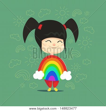 Cute little asian girl disguised as rainbow Flat Isolated Vector Image In Cartoon Style. Halloween Costume rainbow