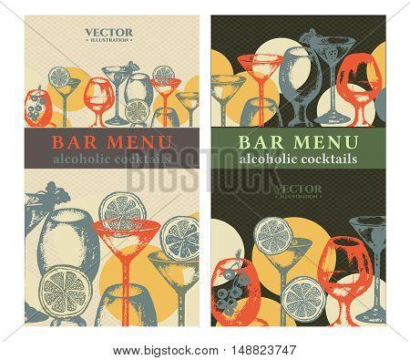 Alcohol banner cocktails hand drawn bar menu vintage template