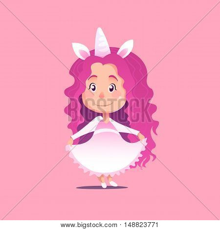 Cute little girl disguised as unicorn Flat Isolated Vector Image In Cartoon Style. Halloween Costume rainbow
