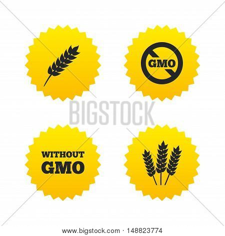 Agricultural icons. Gluten free or No gluten signs. Without Genetically modified food symbols. Yellow stars labels with flat icons. Vector