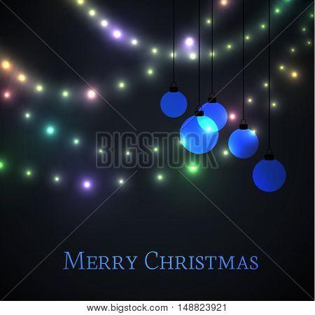 Vector Christmas balls on black background, Merry Christmas card