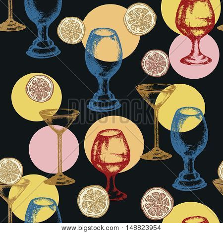 Alcoholic cocktails seamless pattern vector set drinks