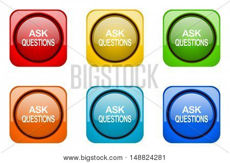 ask questions colorful web icons