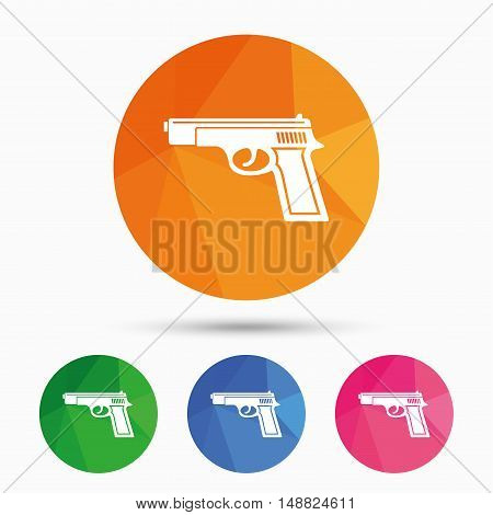 Gun sign icon. Firearms weapon symbol. Triangular low poly button with flat icon. Vector