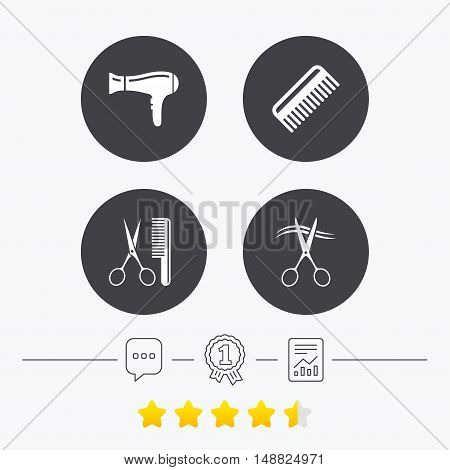 Hairdresser icons. Scissors cut hair symbol. Comb hair with hairdryer sign. Chat, award medal and report linear icons. Star vote ranking. Vector