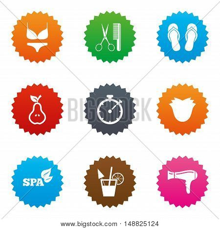 Hairdresser, spa icons. Diet cocktail sign. Lingerie, scissors and hairdryer symbols. Stars label button with flat icons. Vector