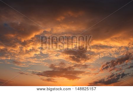 Dramatic sunsets, great yellow cloud in the bright of evening sun