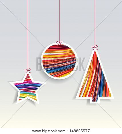 Vector Christmas decorations on a gray background, Merry Christmas card
