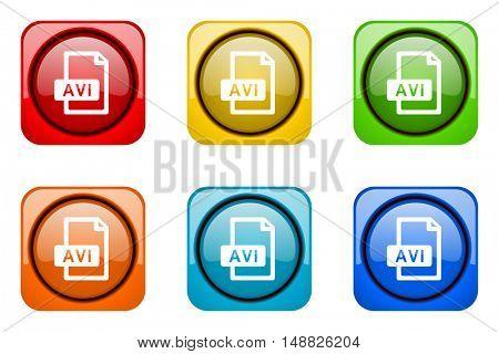 avi file colorful web icons